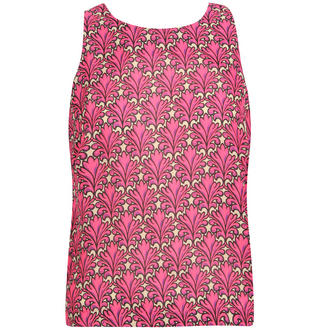 View Item Pink Leaf Print Sleeveless Top